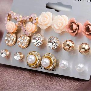 9 Pairs Flowers & Crystals Elegant Earrings